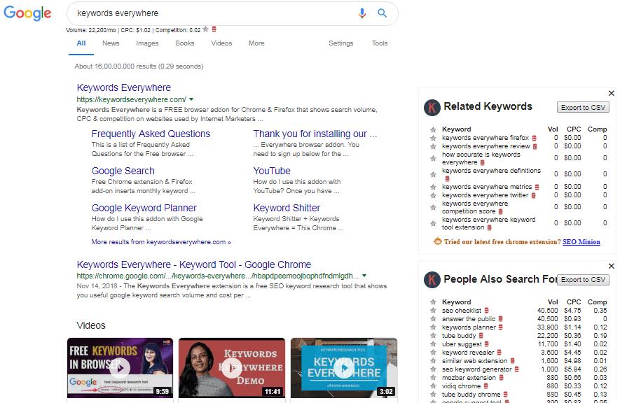 Keywords Everywhere in Google