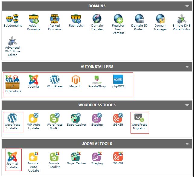 One-click WordPress installation on Siteground