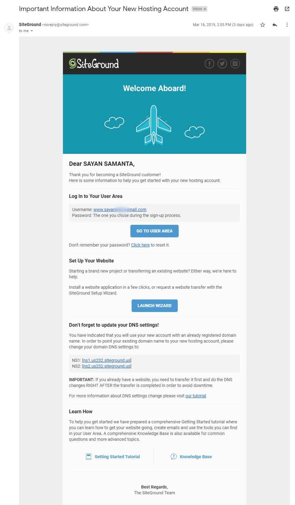Siteground Hosting welcome mail