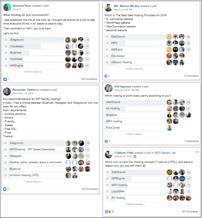 Siteground hosting Facebook poll 2020