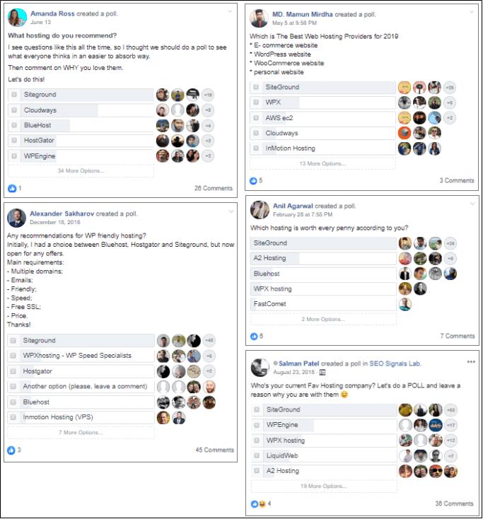 Siteground hosting Facebook poll