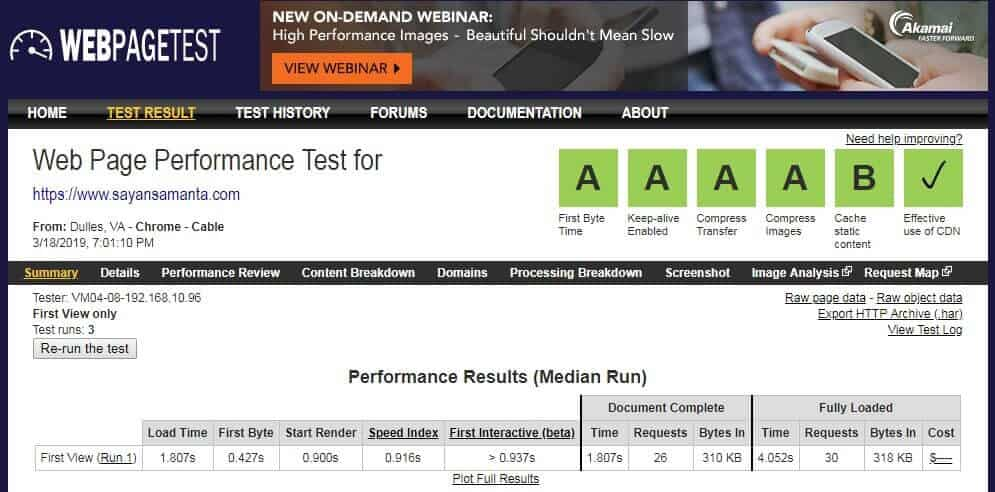 page speed by webpagetest