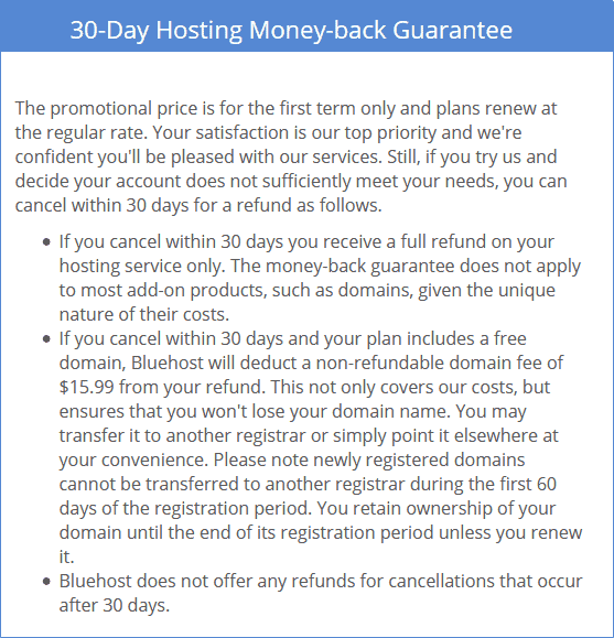 Bluehost Money Back policy