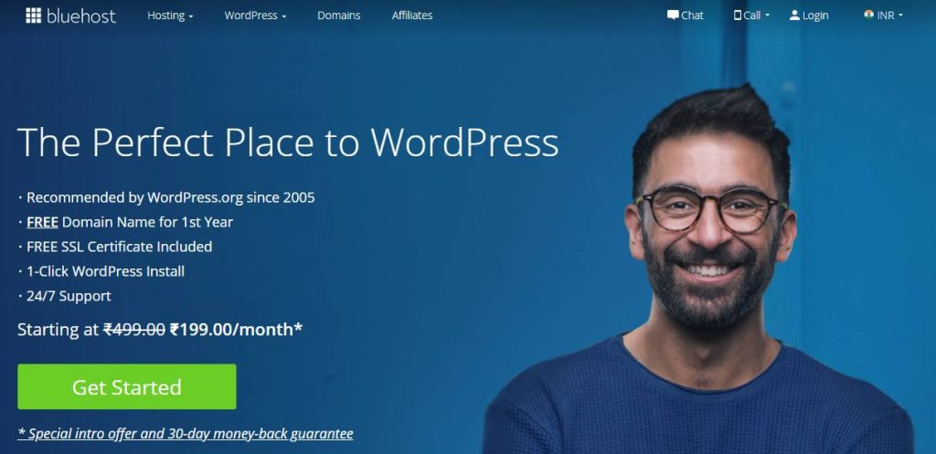 Bluehost India Homepage
