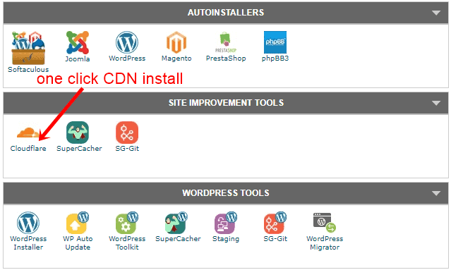 Siteground one click CDN install