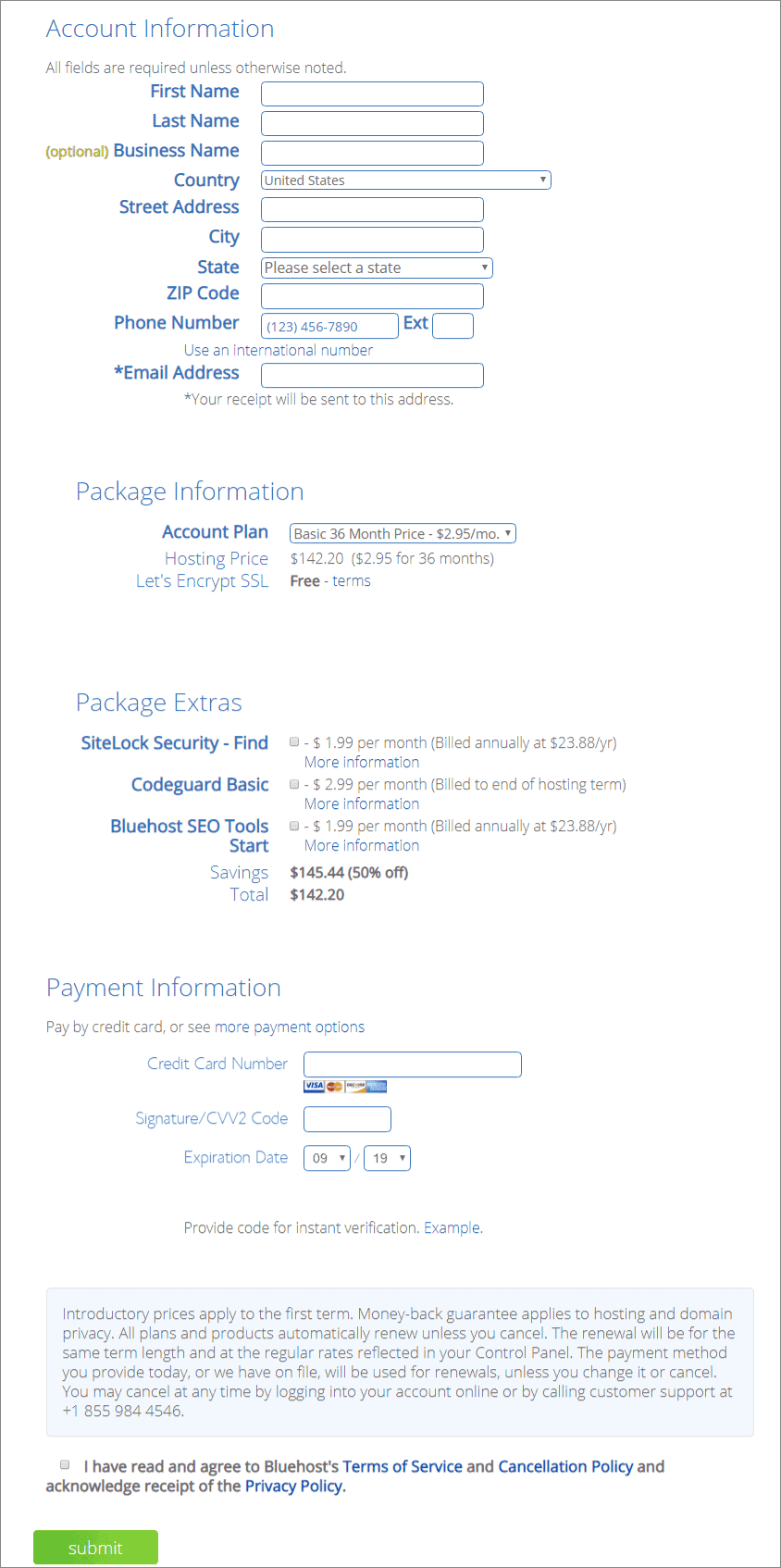 Bluehost hosting Payment