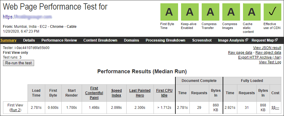 Bluehost web page speed test