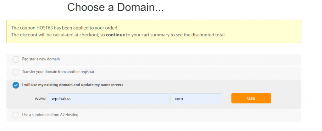 A2 Hosting domain Name selection
