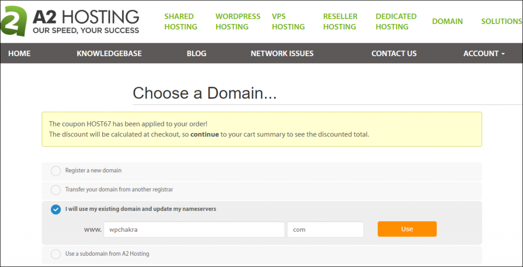 A2 hosting Domain Name