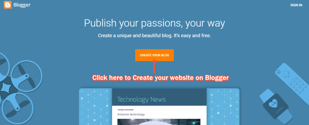 Blogspot (Blogger) HomePage