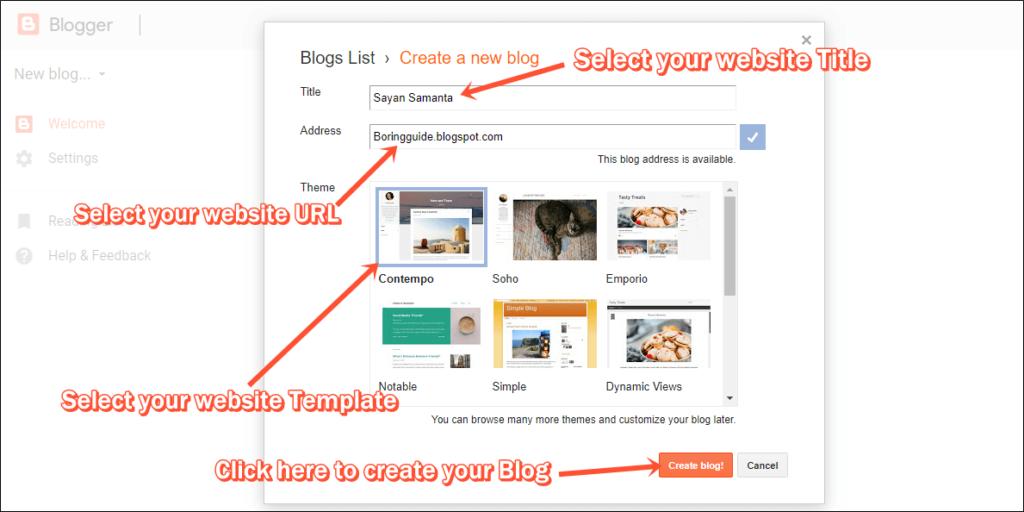 Blogger URL & title name