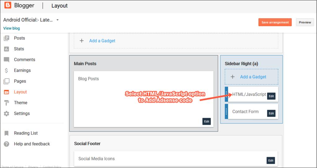 Tùy chọn HTML và JavaScript tùy chỉnh của Blogger