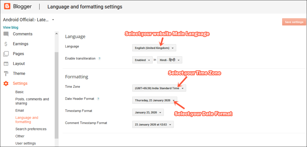 Blogspot Language settings