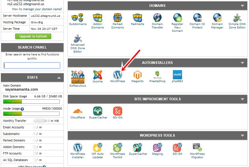 SiteGround cPanel WordPress installer