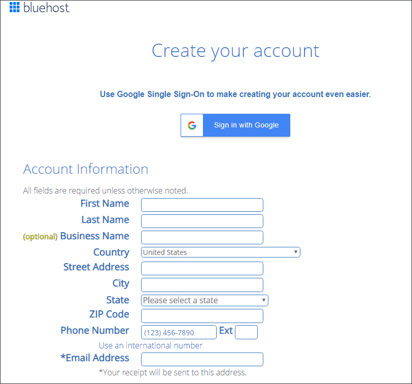 Bluehost Create account