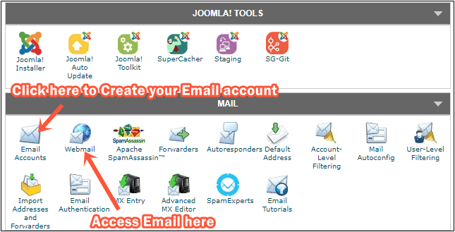 Create email account on SiteGround
