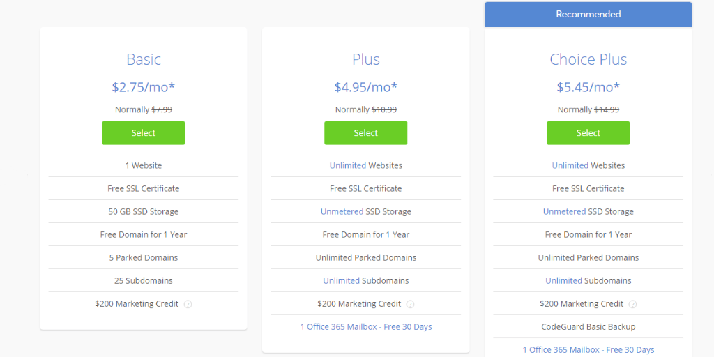 Bluehost shared hosting pricing