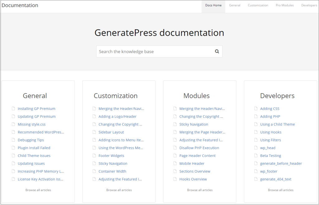 GeneratePress documentations