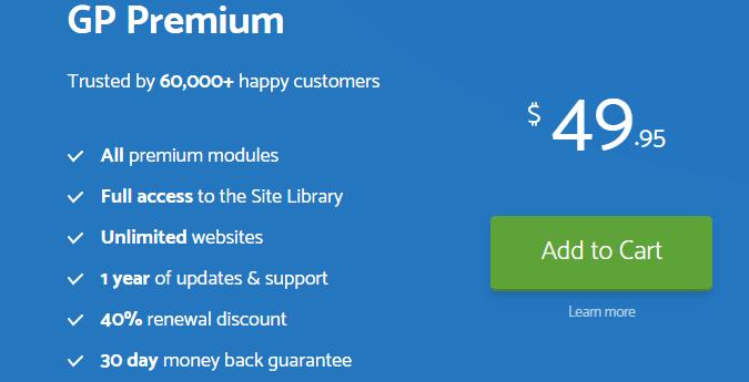 GeneratePress premium plugin price