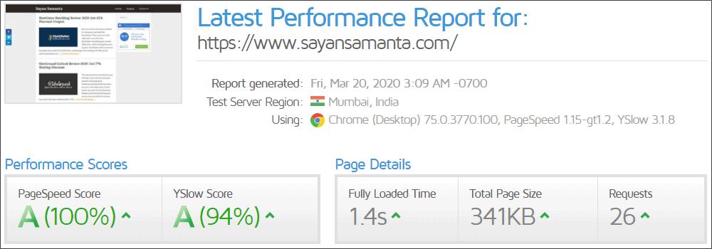 GeneratePress theme loading speed