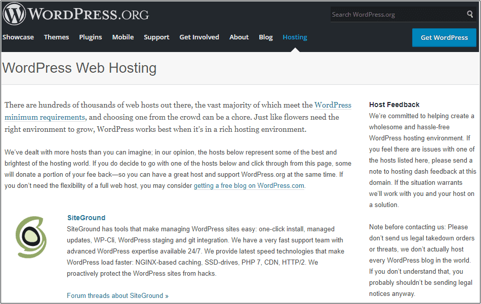 WordPress Recommend SiteGround Hosting