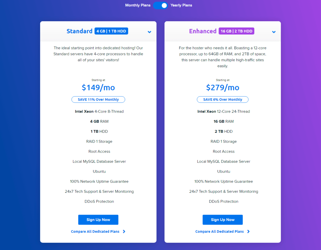 DreamHost Dedicated server plans pricing