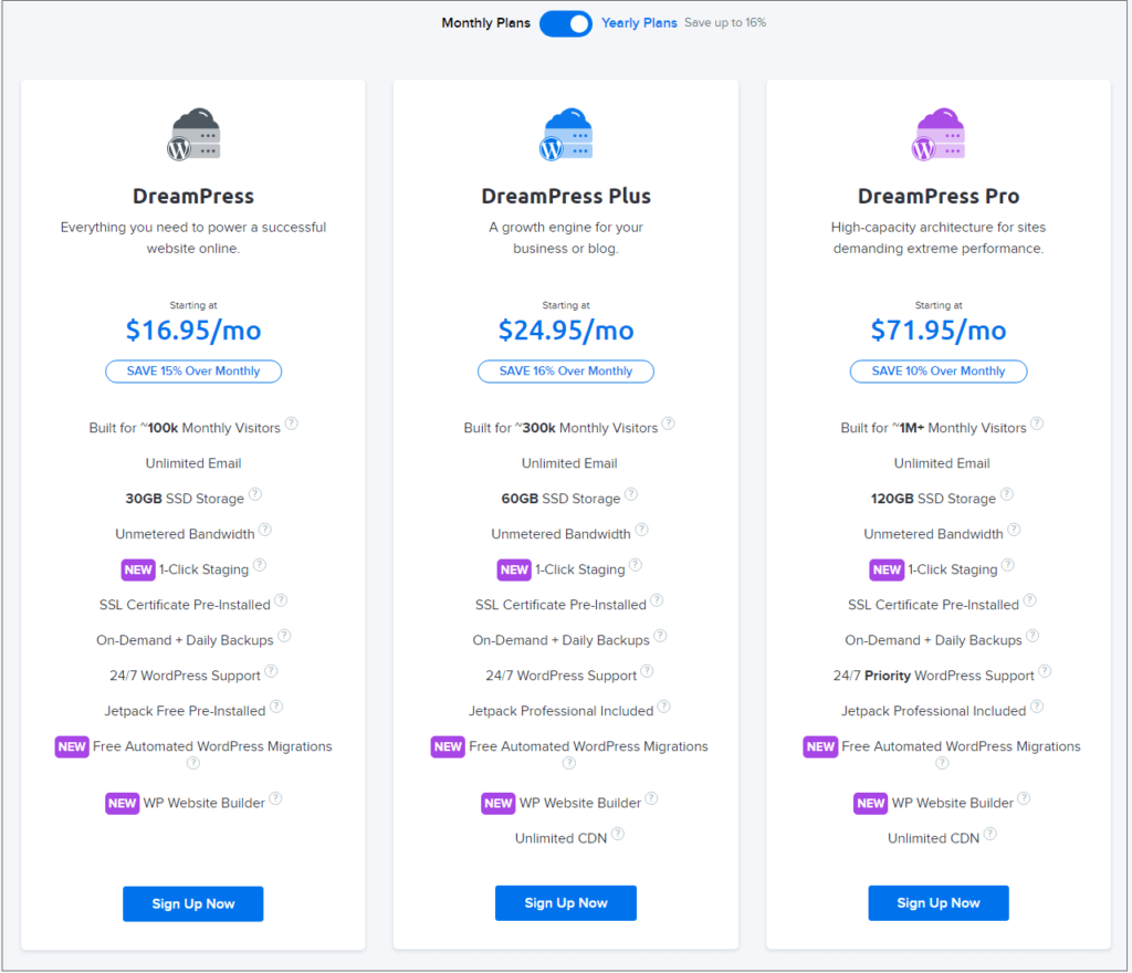 Dreamhost managed WordPress hosting plans pricing