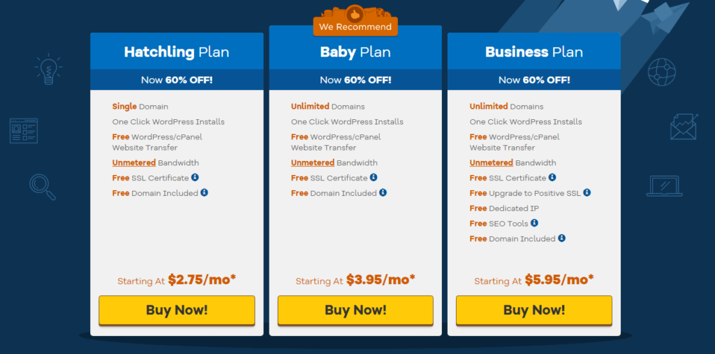 HostGator Shared hosting plan pricing