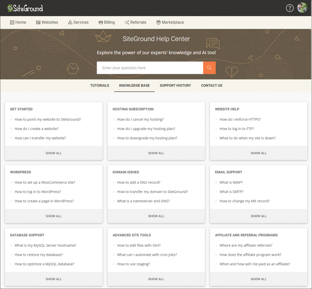 SiteGround knowledge base