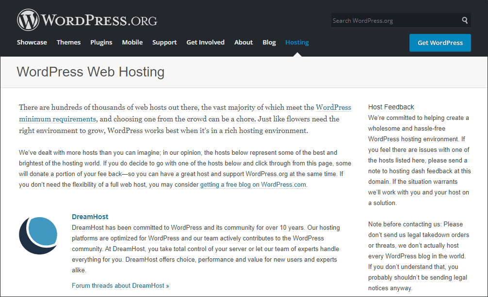 WordPress recommend hosting DreamHost