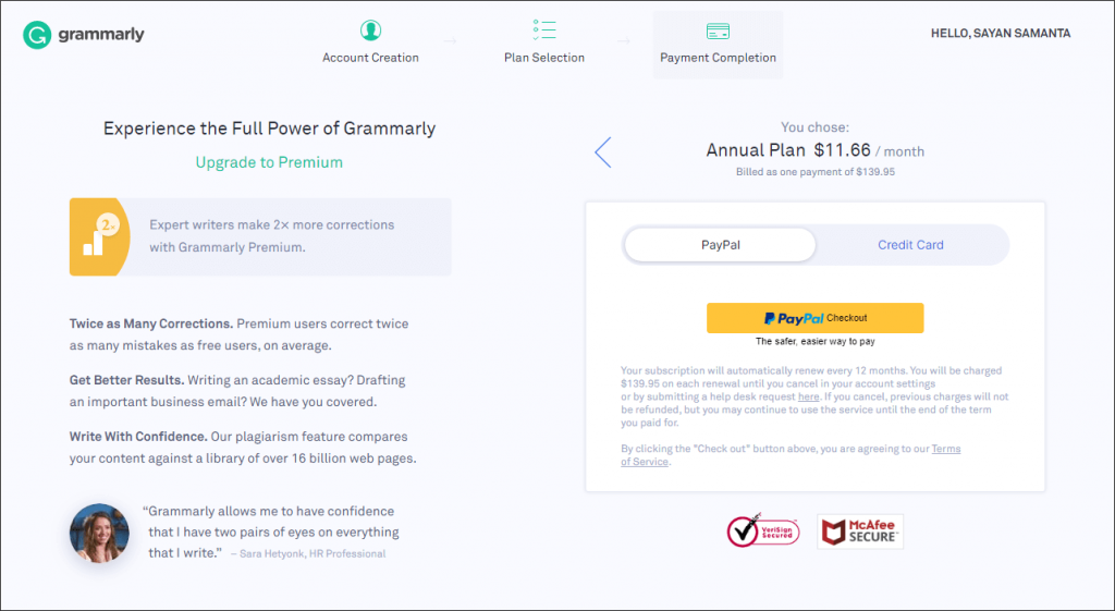 Grammarly checkout page