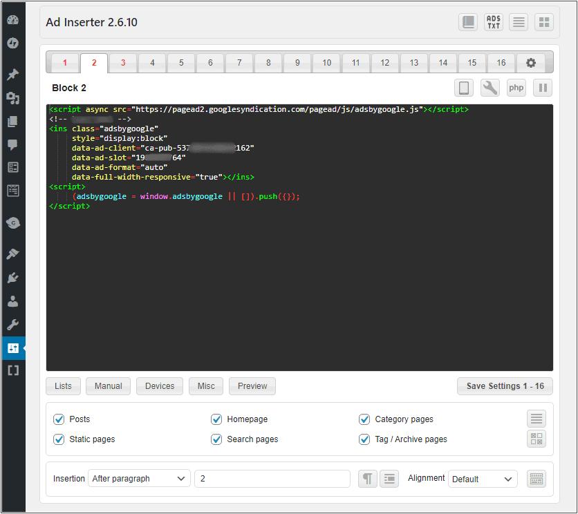 Ad Inserter plugin ad code