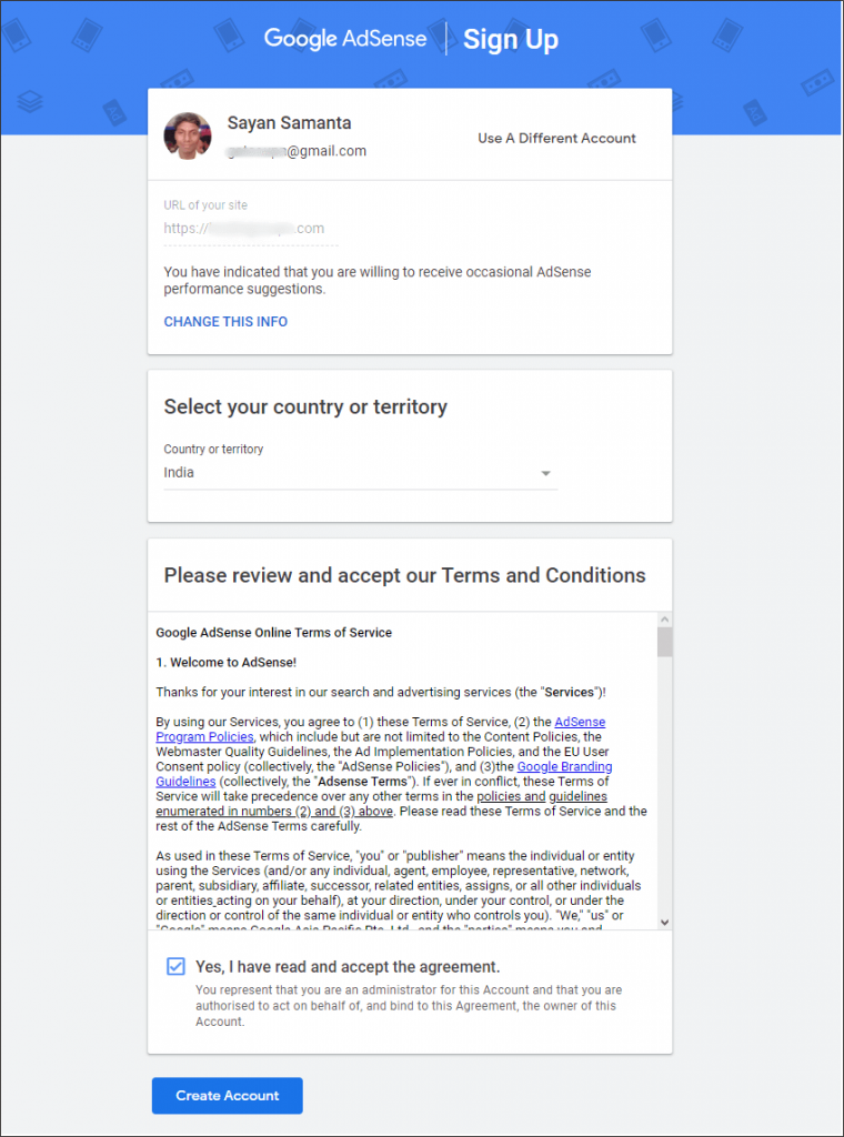 Select your country and accept AdSense terms