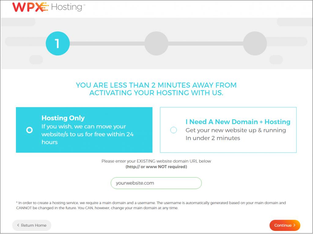 WPX hosting domain name