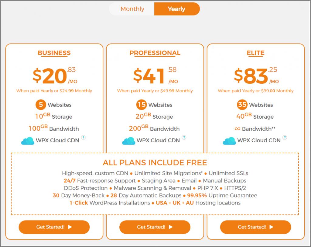 WPX hosting plans