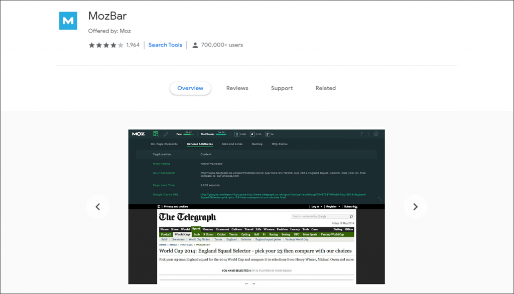 mozbar Extension