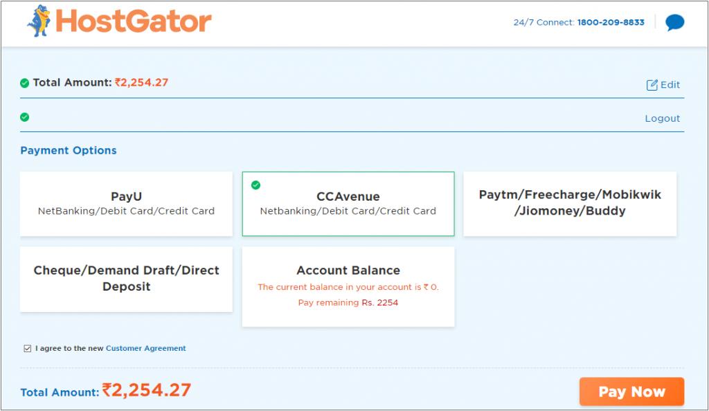 HostGator Payment options