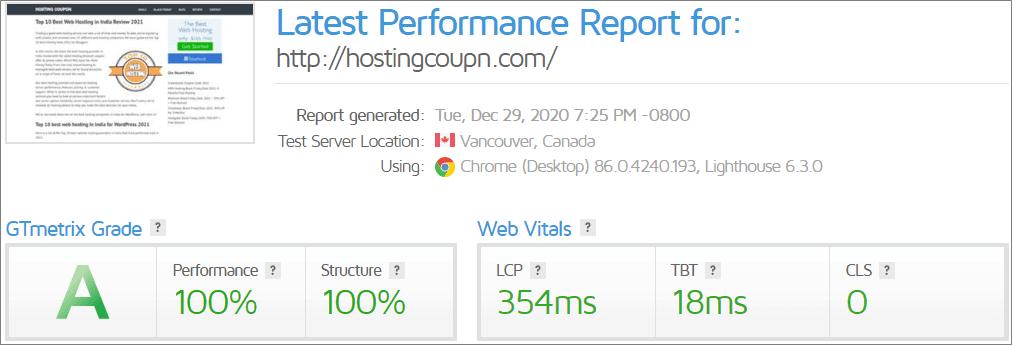 GTMetrix loading time