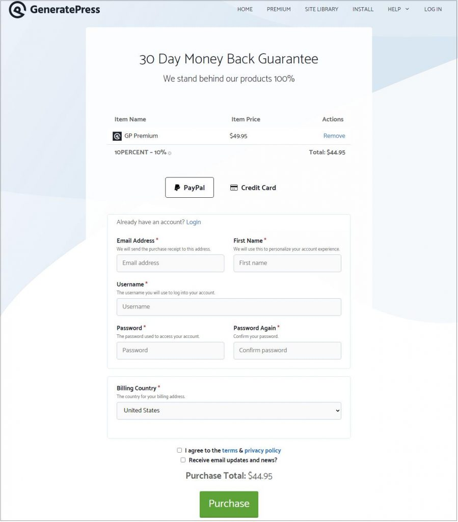 GeneratePress theme discount