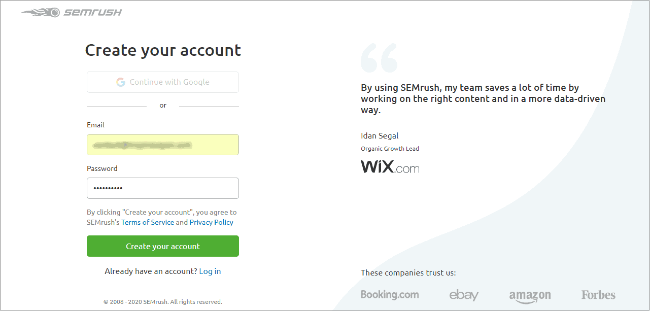 create SEMRush account