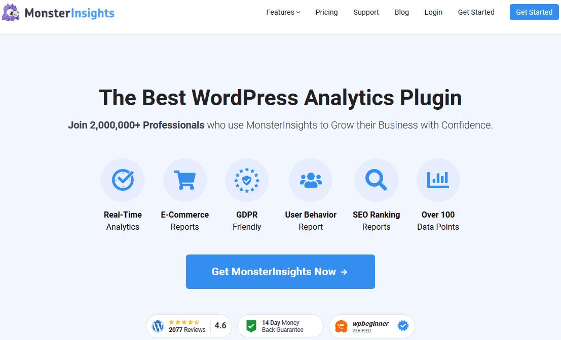 MonsterInsights Google Analytics Dashboard plugin