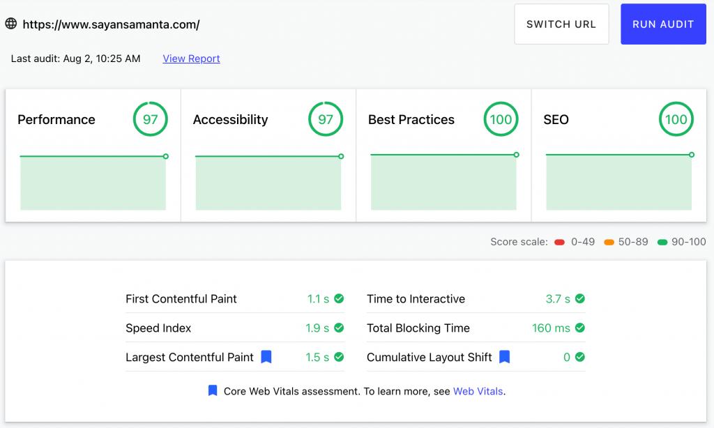 Core Web Vitals Result