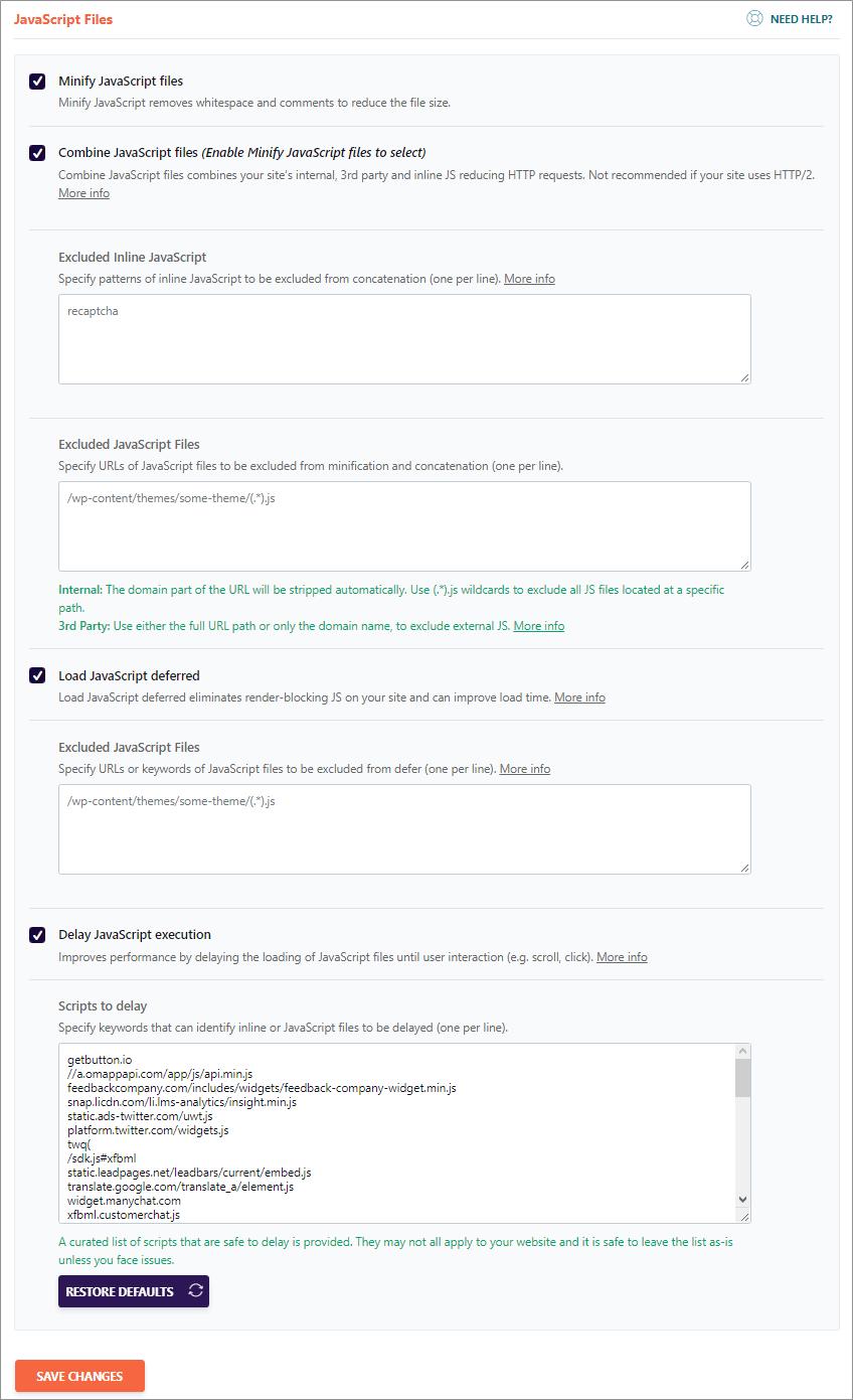 Wp Rocket JavaScript files Optimization