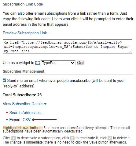 Feedburner Subscriber Management