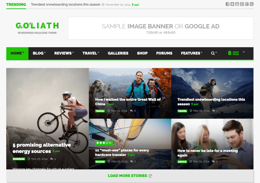 Goliath WordPress Magazine theme for AdSense